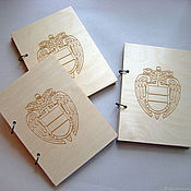 Канцелярские товары ручной работы. Ярмарка Мастеров - ручная работа Блокнот А5 с деревянной обложкой с логотипом компании. Handmade.