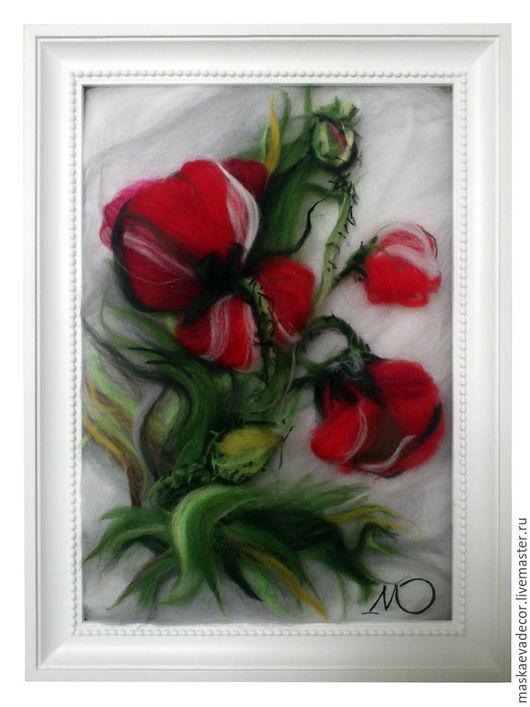 Картины цветов ручной работы. Ярмарка Мастеров - ручная работа. Купить Картина из шерсти Маки 21 х 30 см. шерстяная акварель. Handmade.