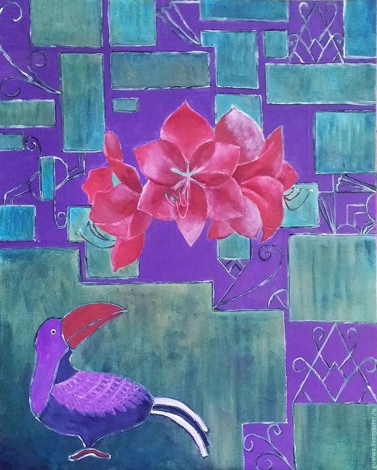 """Фантазийные сюжеты ручной работы. Ярмарка Мастеров - ручная работа. Купить картина""""С амариллисом"""". Handmade. Комбинированный, ар-нуво, птица"""