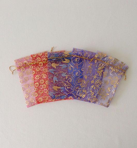 Упаковка ручной работы. Ярмарка Мастеров - ручная работа. Купить Мешочки из органзы с рисунком Е122. Handmade. Мешочек, мешочек из органзы
