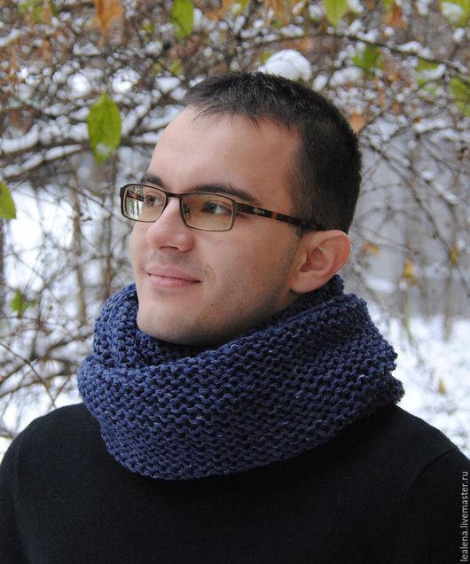 Шарфы и шарфики ручной работы. Ярмарка Мастеров - ручная работа. Купить Мужской шарф-снуд темно-синий меланж (полушерсть). Handmade.