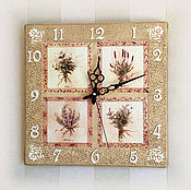 Для дома и интерьера ручной работы. Ярмарка Мастеров - ручная работа часы настенные  Пряные травы. Handmade.