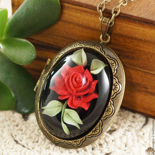 Кулоны, подвески ручной работы. Ярмарка Мастеров - ручная работа. Купить Медальон Инталия Волшебная роза (30х40мм). Handmade.