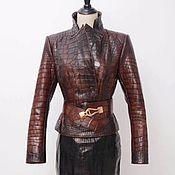 Одежда handmade. Livemaster - original item Women`s jacket made of genuine crocodile leather, in burgundy color.. Handmade.