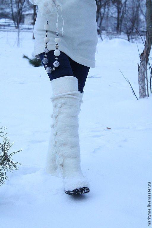 """Обувь ручной работы. Ярмарка Мастеров - ручная работа. Купить Валенки """"Невеста"""". Handmade. Белый, шерсть 100%"""