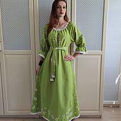 Одежда handmade. Livemaster - original item Dress in boho style with the author`s painting Fairy Tale light green. Handmade.