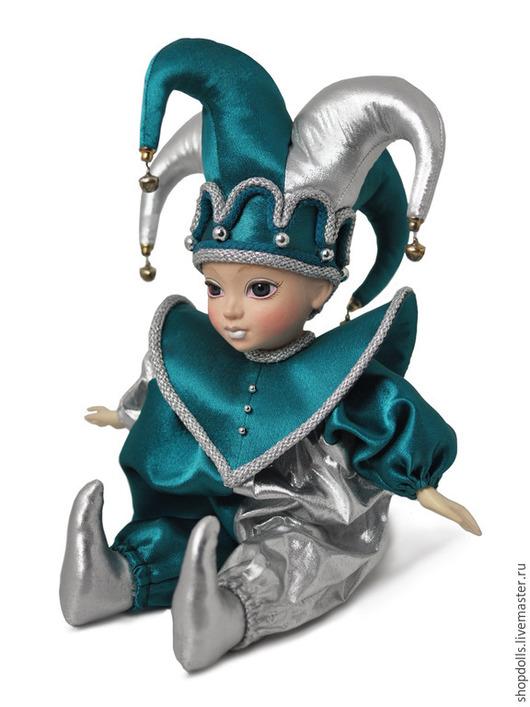 Коллекционные куклы ручной работы. Ярмарка Мастеров - ручная работа. Купить Кукла Арлекин зелёно-серебряный. Handmade. Зеленый, арлекин