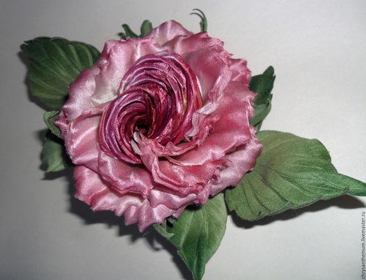 Броши ручной работы. Ярмарка Мастеров - ручная работа. Купить Брошь-роза из шелка Вечерний звон. Handmade. Цветы из ткани
