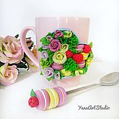 Посуда handmade. Livemaster - original item Delicious Mug with a box of flowers and cakes made of polymer clay. Handmade.