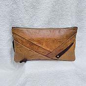 "Сумки и аксессуары handmade. Livemaster - original item Leather clutch bag ""Marrone"",brown clutch bag,leather handbag,chestnut. Handmade."