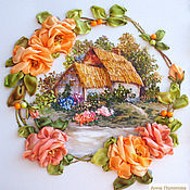 Картины ручной работы. Ярмарка Мастеров - ручная работа Домик в деревне.. Handmade.