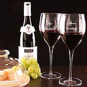 Посуда ручной работы. Ярмарка Мастеров - ручная работа Пара бокалов для вина с персональной гравировкой Burgundia. Handmade.