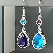 Earrings handmade. Livemaster - original item Asymmetric earrings, gemstones silver, blue, purple, drops. Handmade.