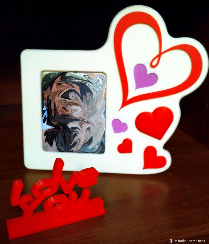 Фото рамка с подставкой и украшениями - LOVE, Фоторамки, Москва,  Фото №1