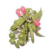 Украшения handmade. Livemaster - original item Green brooch out of leather,