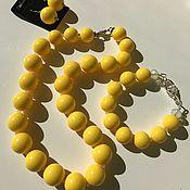 "Украшения handmade. Livemaster - original item ""Жизнерадостный банан"" комплект бусы,серьги и браслет из пластика. Handmade."