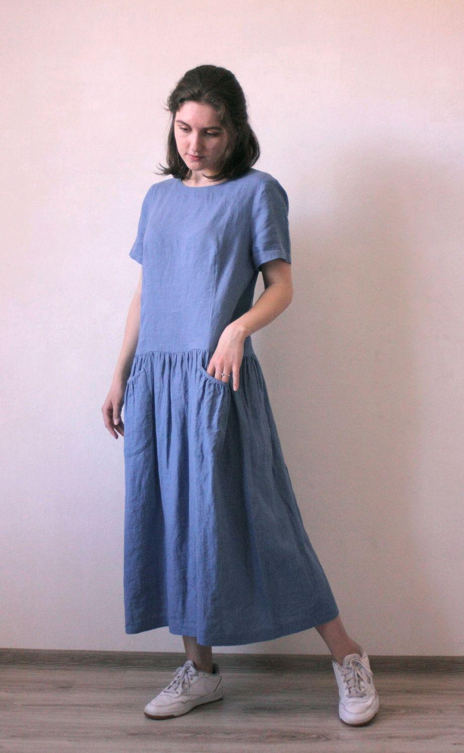 Платье из льна с коротким рукавом синий васильковый цвет, Платья, Новороссийск,  Фото №1