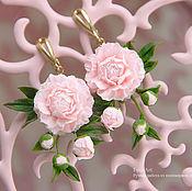 Украшения ручной работы. Ярмарка Мастеров - ручная работа Серьги с розовыми пионами. Handmade.