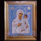 Картины и панно ручной работы. Ярмарка Мастеров - ручная работа Икона Иверской Б.М. в бисерном окладе. Handmade.