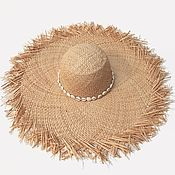 Аксессуары handmade. Livemaster - original item Raffia hat with raw brim. Handmade.