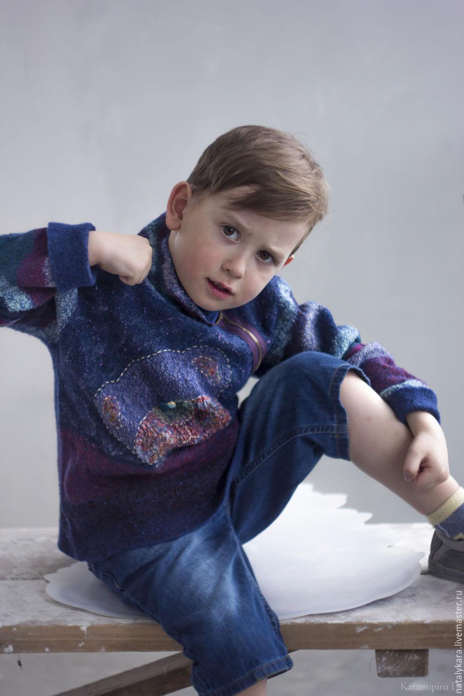 Clothes for Boys handmade. Livemaster - handmade. Buy Felted pullover boy's 'Mi-mi-bears'.Patchwork, mimimishki
