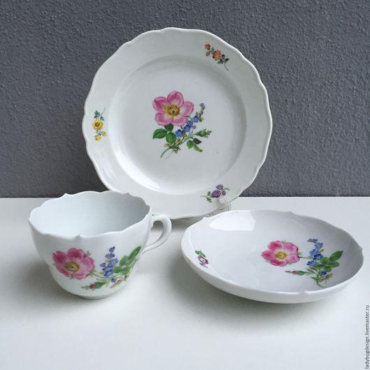 Винтажная посуда. Ярмарка Мастеров - ручная работа. Купить Чайная тройка Мейсен / Майсен (Meissen). Handmade. Комбинированный, чашка