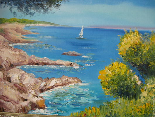 Пейзаж ручной работы. Ярмарка Мастеров - ручная работа. Купить Картина  маслом  Морской пейзаж. Handmade. Голубой, морской пейзаж