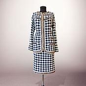 Одежда handmade. Livemaster - original item Handmade crochet houndstooth tweed suit Madelyn. Classic women suit. Handmade.