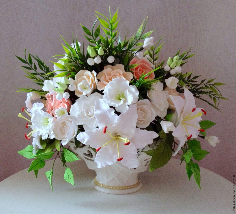 Букет с лилиями и розами из полимерной глины. Красивые букеты ручной работы. Купить анемоны из полимерной глины ручной работы. Интерьерная композиция. Искусственные цветы.