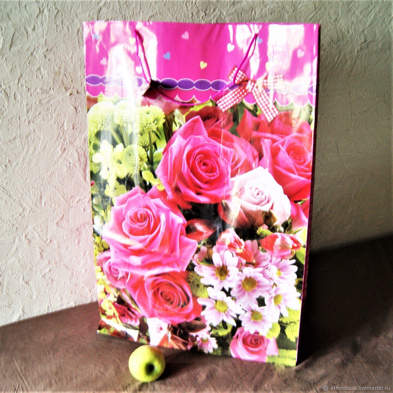 """Пакет гигант """"Розовые розы"""" 73х49х18см, большой, Пакеты, Москва,  Фото №1"""