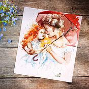 Картины и панно handmade. Livemaster - original item The sun in hand - painting watercolor. Handmade.