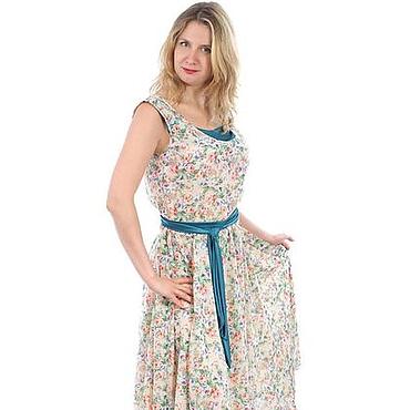 """Одежда ручной работы. Ярмарка Мастеров - ручная работа Топ и юбка из шифона ,,Роза"""" с бирюзой. Handmade."""