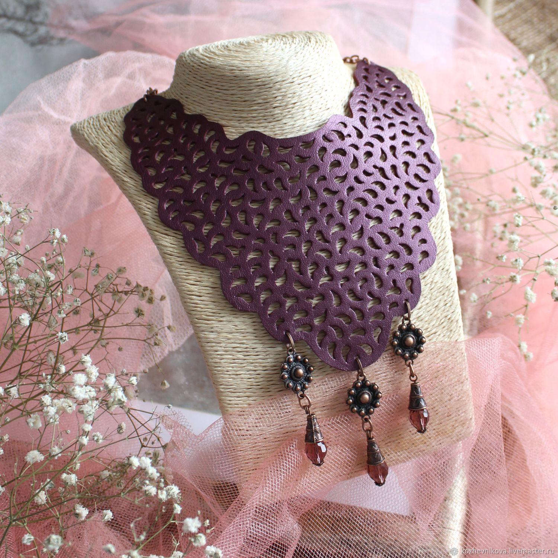 Leather necklace Violet lace, Necklace, Nizhnij Tagil,  Фото №1