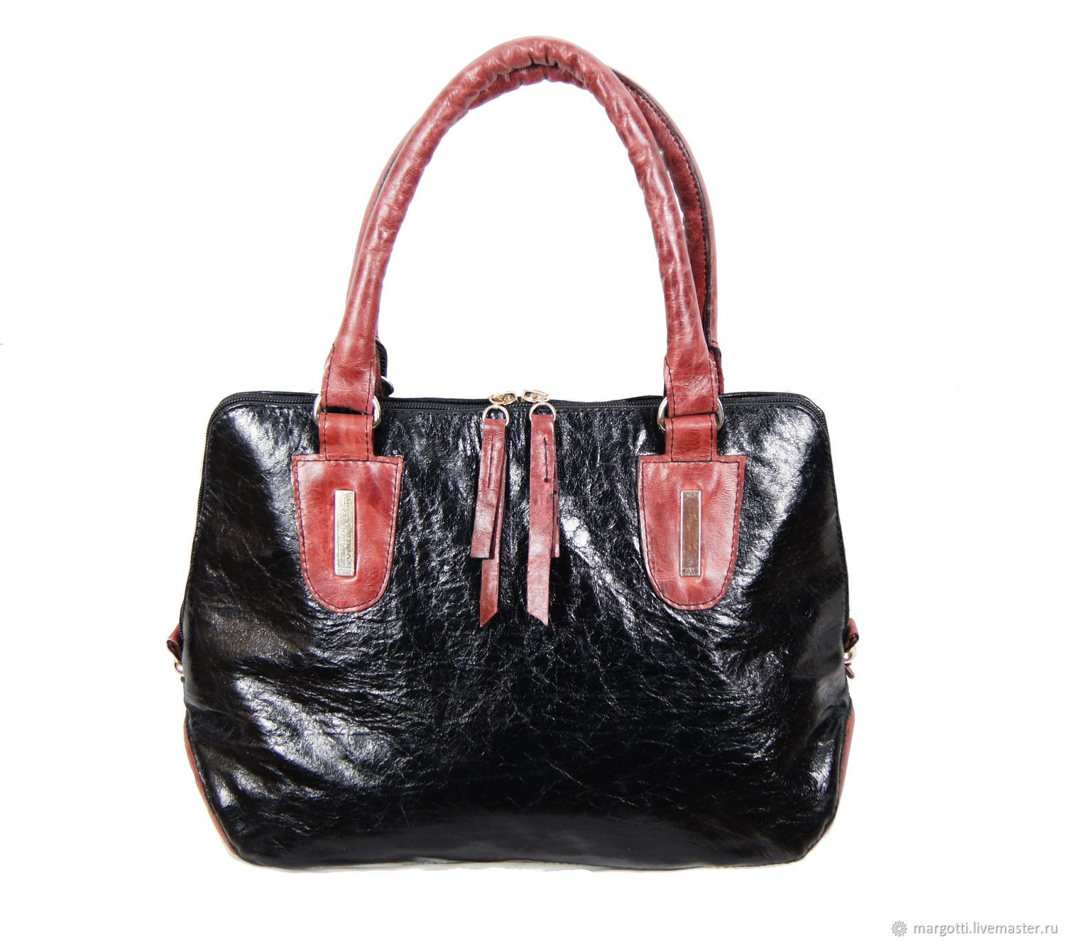 Black and Burgundy genuine leather tote bag, Classic Bag, Nelidovo,  Фото №1