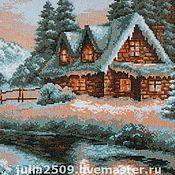 """Картины и панно ручной работы. Ярмарка Мастеров - ручная работа Вышитая картина """"Зимний пейзаж"""". Handmade."""