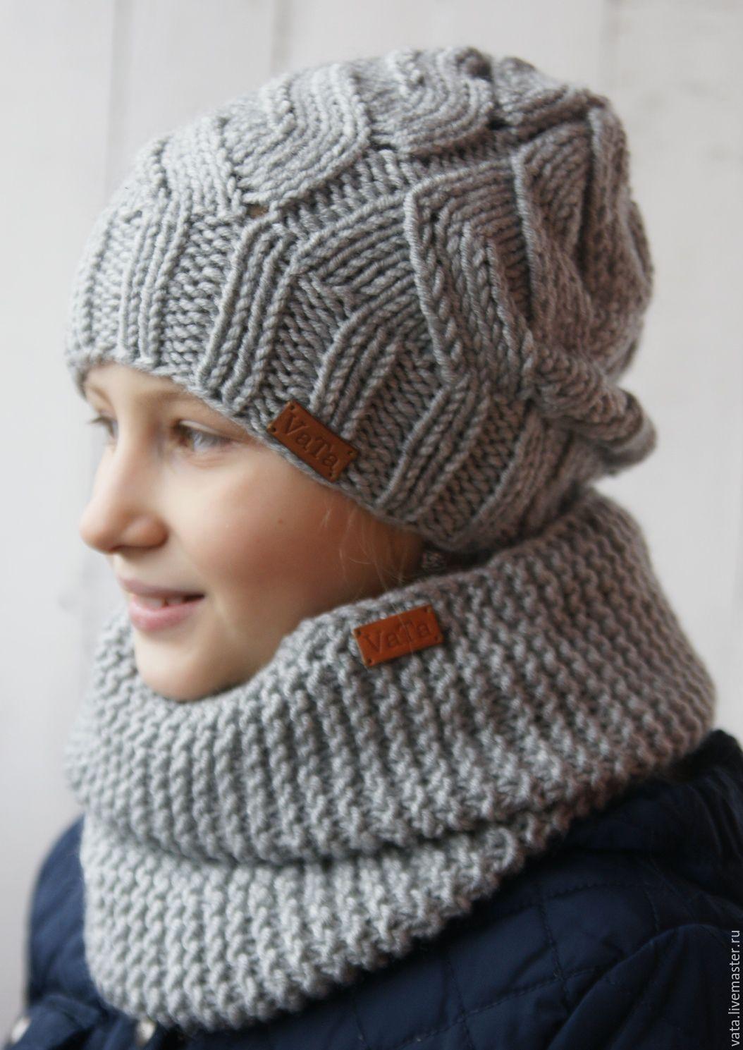 Вязаная шапка с ажурными косами и снуд – купить в интернет ...