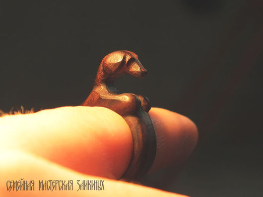 Кольца ручной работы. Ярмарка Мастеров - ручная работа. Купить Деревянное кольцо перстень Такса. Handmade. Кольцо ручной работы