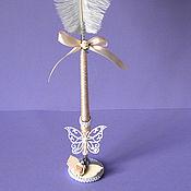 Свадебный салон ручной работы. Ярмарка Мастеров - ручная работа Ручка перо в персиковой гамме. Handmade.