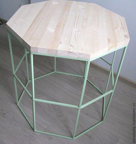 """Мебель ручной работы. Ярмарка Мастеров - ручная работа. Купить Столик """"Геометрия"""".. Handmade. Ярко-зелёный, кофе, гостиная, металл"""