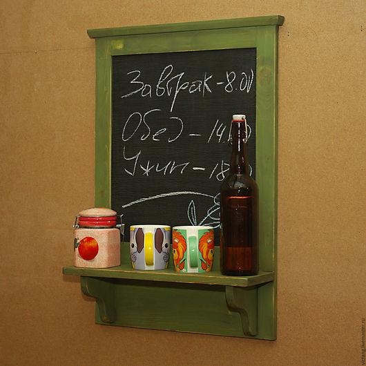 Мебель ручной работы. Ярмарка Мастеров - ручная работа. Купить Полочка с меловой доской. Handmade. Тёмно-зелёный, патина
