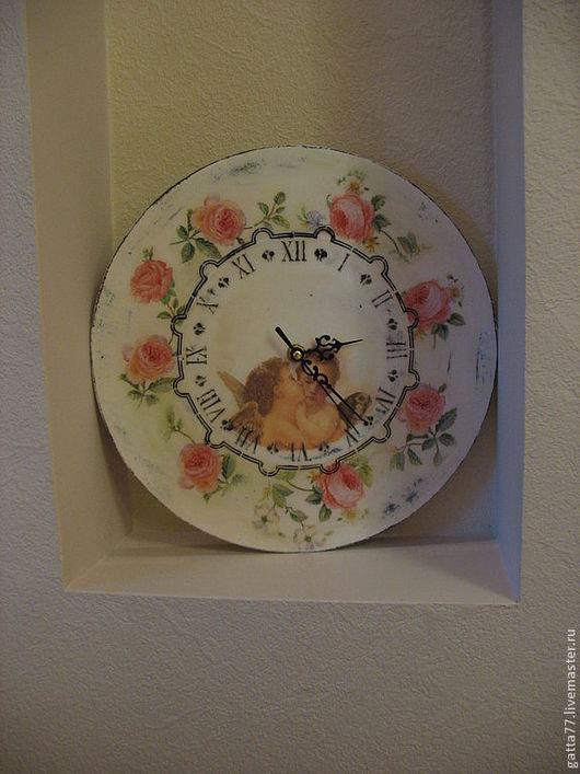 Часы для дома ручной работы. Ярмарка Мастеров - ручная работа. Купить Часы старинные розы. Handmade. Бледно-розовый, салфетка