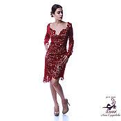 """Платья ручной работы. Ярмарка Мастеров - ручная работа Роскошное платье ирландское кружево вязаное """"Бордо"""" на шелковой подкла. Handmade."""