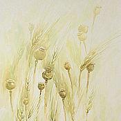 Картины и панно ручной работы. Ярмарка Мастеров - ручная работа Маковые коробочки в пшенице, акварель.. Handmade.