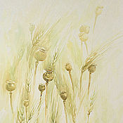 Картины и панно handmade. Livemaster - original item Poppy boxes in wheat, watercolor.. Handmade.