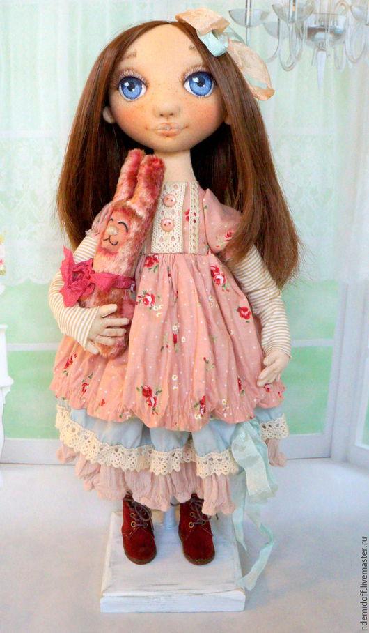 Коллекционные куклы ручной работы. Ярмарка Мастеров - ручная работа. Купить Аленка и любимый Зай. Handmade. Бледно-розовый, хлопок