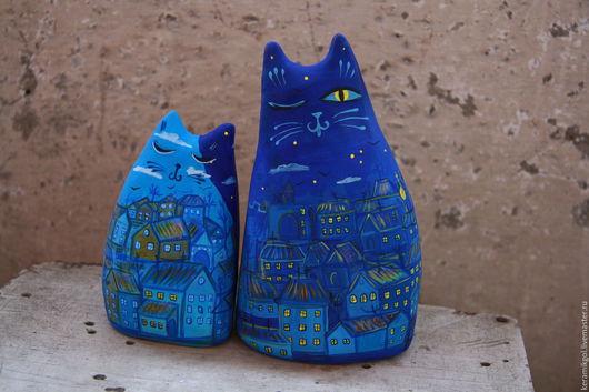 """Игрушки животные, ручной работы. Ярмарка Мастеров - ручная работа. Купить Окарины """"Городские коты"""". Handmade. Тёмно-синий, кошка"""