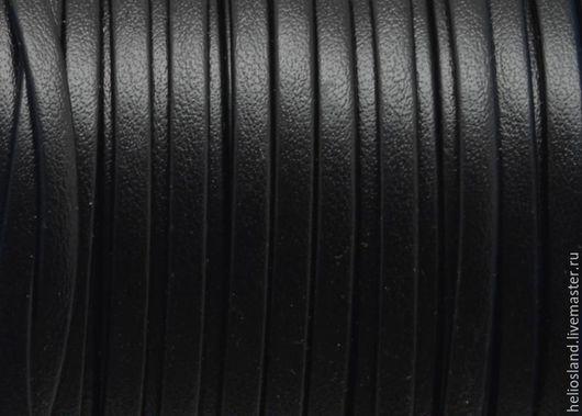 Для украшений ручной работы. Ярмарка Мастеров - ручная работа. Купить Шнур кожаный черный плоский, 3 мм. Handmade.