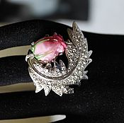 Украшения handmade. Livemaster - original item Ring lampwork beads with rhinestones with a rose Sprig. Handmade.