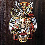 """Для дома и интерьера ручной работы. Ярмарка Мастеров - ручная работа Витраж подвеска """"Стимпанк Сова"""". Handmade."""