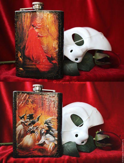 Металлическая фляжка «Маскарад», 7 унций. Декупаж с использованием 3D-элементов. В оформлении использованы иллюстрации Anne Bachelier к роману «Призрак оперы».